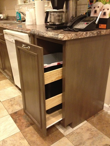 ana white kitchen trash pull out cabinet diy projects door mounted trash can in cabinet trash cans