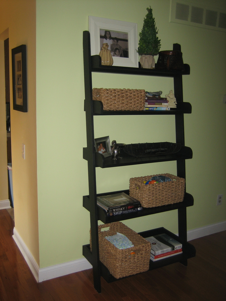 diy leaning ladder bookshelve houses plans designs. Black Bedroom Furniture Sets. Home Design Ideas