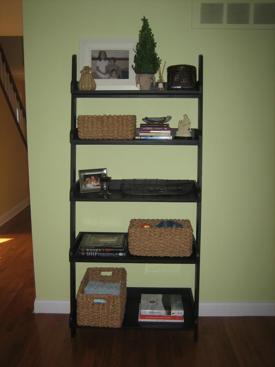 diy leaning ladder bookshelve homedesignpictures. Black Bedroom Furniture Sets. Home Design Ideas