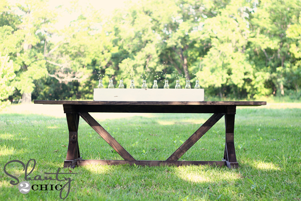 Diy Outdoor Farmhouse Table Throughout Whitney Has Family Of Seven And Wanted To Build Sturdy Strong Farmhouse Table With Little Bit Fancy It Dine On Outdoors This Summer Ana White Fancy Farmhouse Table Diy Projects