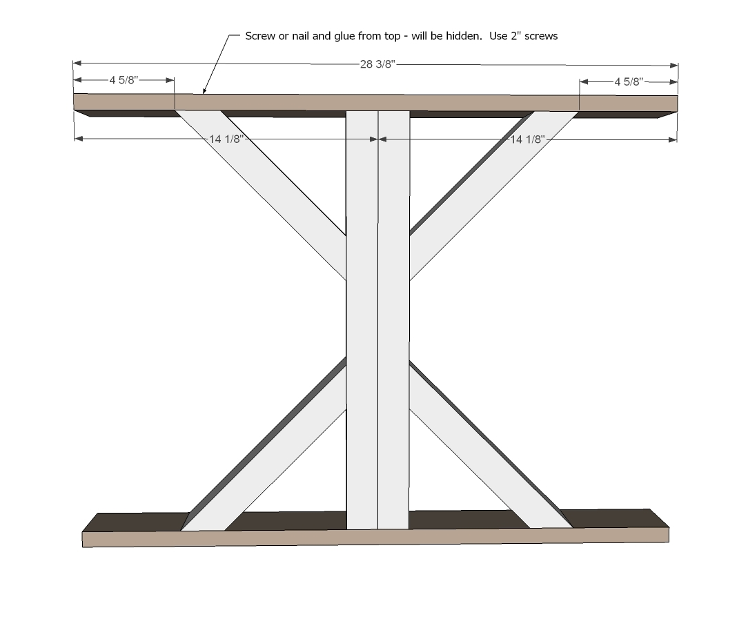 Ana white fancy x farmhouse table diy projects for Post trestle farm table plans