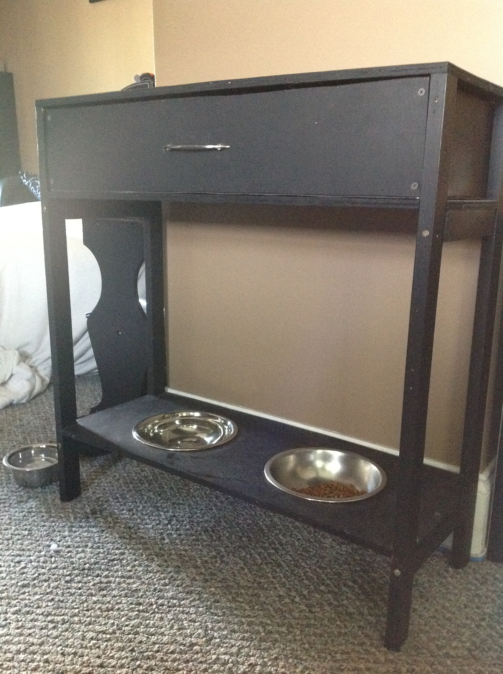 ana white console table w drawer raised dog bowls diy projects. Black Bedroom Furniture Sets. Home Design Ideas