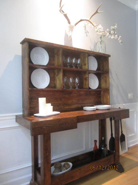 Workbench Console And Rustic Hutch