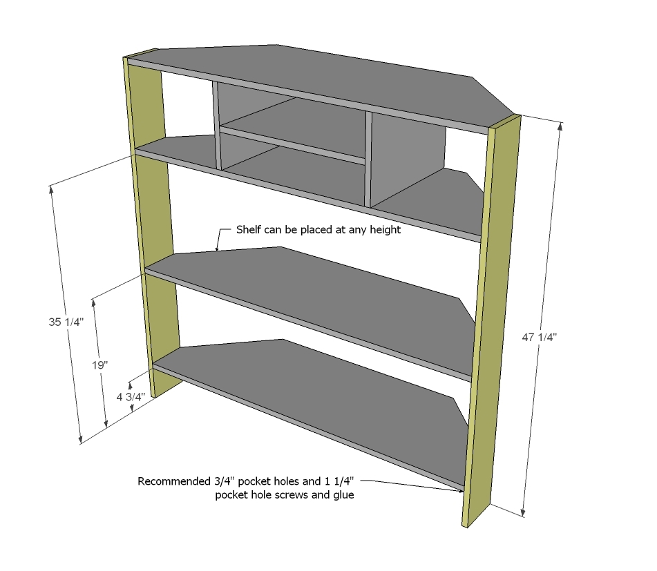 Ana white tall corner media console diy projects for Diy shelves philippines