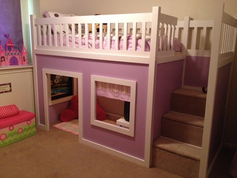 Ana White | Chloe's Purple Playhouse Bed - DIY Projects