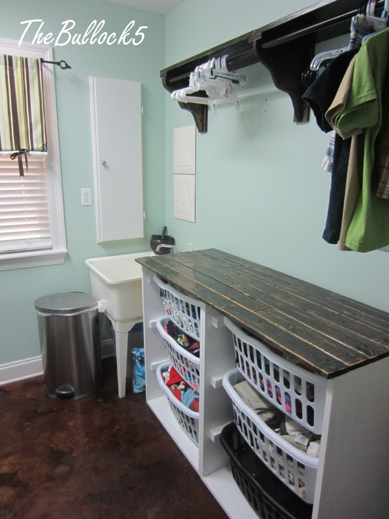 ana white | laundry dresser foling area and hanging shelf - diy projects