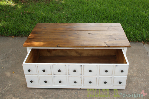 DIY this coffee table with a hidden storage toy box trundle! Free easy step  by step plans from Ana-White.com - Ana White Apothecary Coffee Table With Toybox Trundle - DIY Projects