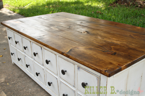 Ana white apothecary coffee table with toybox trundle diy projects diy this coffee table with a hidden storage toy box trundle free easy step by step plans from ana white malvernweather Image collections