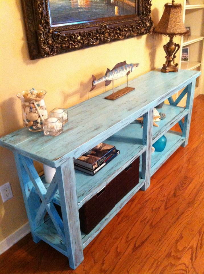 Do It Yourself Home Design: Rustic X Console - Gone Beachy! - DIY Projects