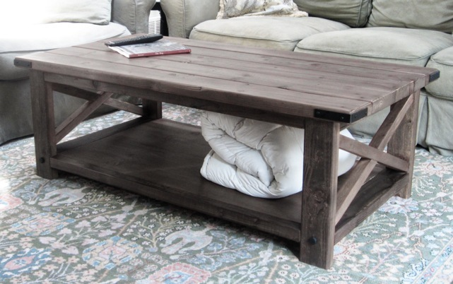 Build a rustic X coffee table with free easy plans from Ana-White.com - Ana White Rustic X Coffee Table - DIY Projects