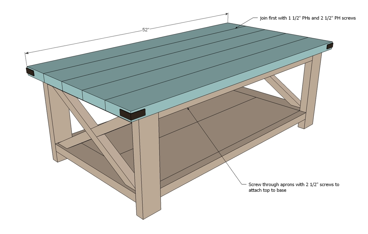 Rustic coffee table plans for Table design plans
