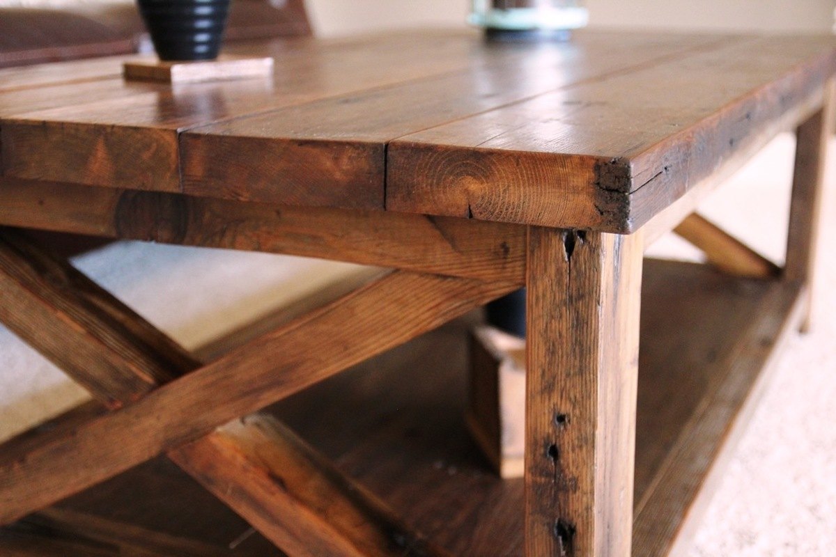 Ana white rustic x coffee table diy projects Rustic wooden coffee tables