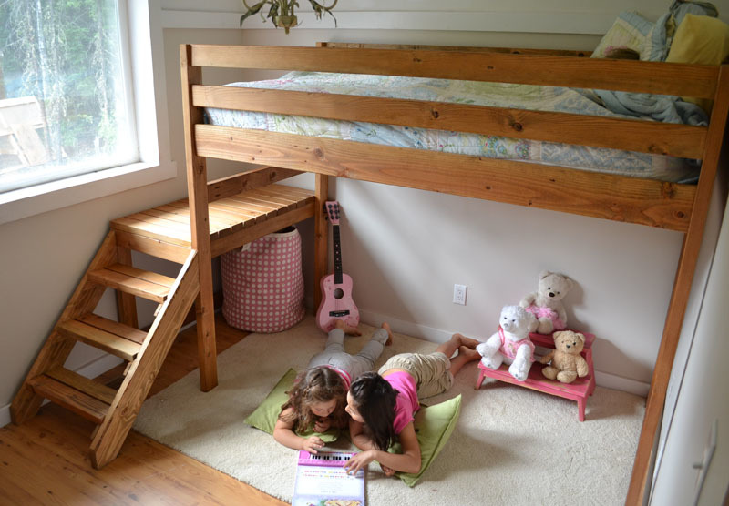 Camp Loft Bed With Stair, Junior Height