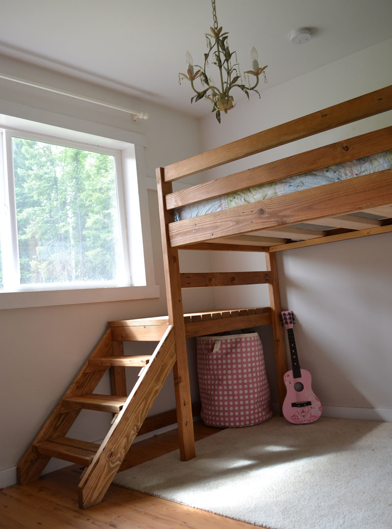 Ana white camp loft bed with stair junior height diy for Loft drawings