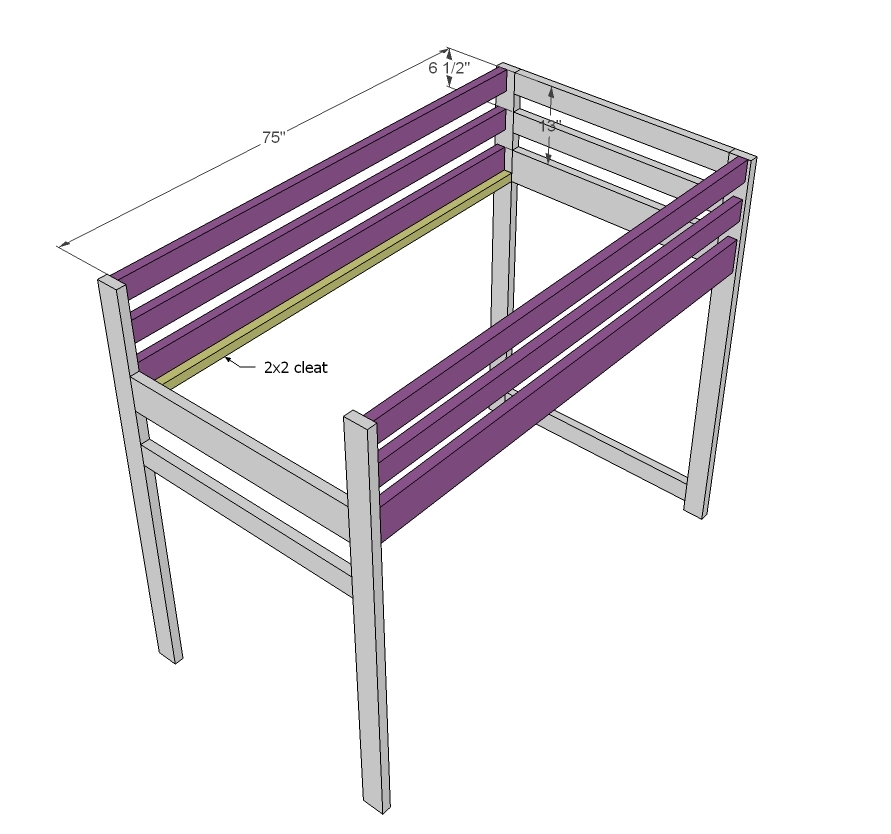 ana white camp loft bed with stair junior height diy projects. Black Bedroom Furniture Sets. Home Design Ideas