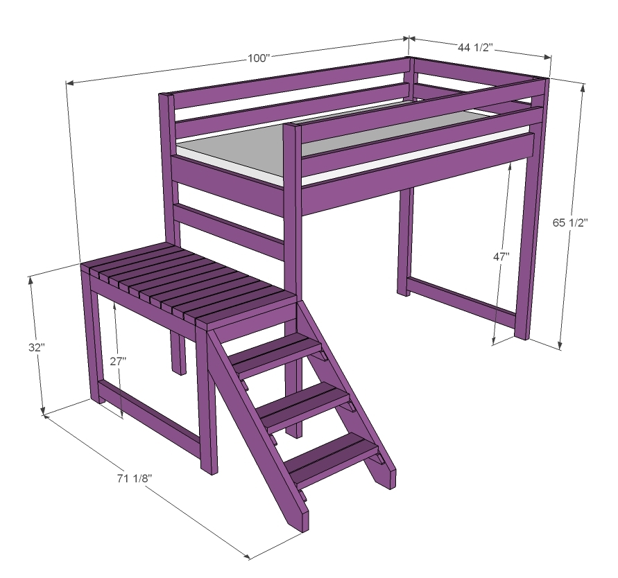 free plans for loft bed with stairs | Quick Woodworking Projects