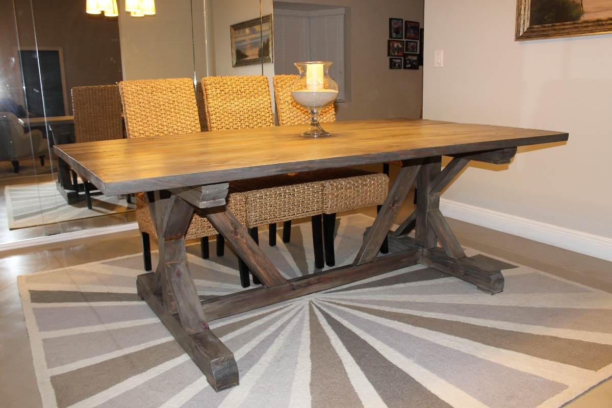 Ana White | Weathered Gray Fancy X Farmhouse Table With Extensions ...
