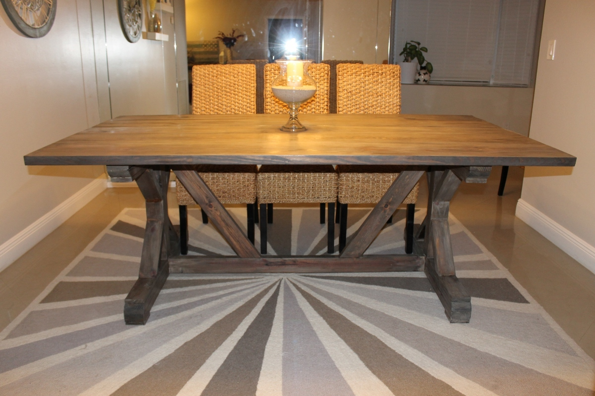 Ana white weathered gray fancy x farmhouse table with for Ana white x dining room table
