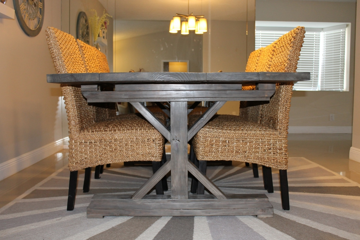 Captivating Weathered Gray Fancy X Farmhouse Table With Extensions