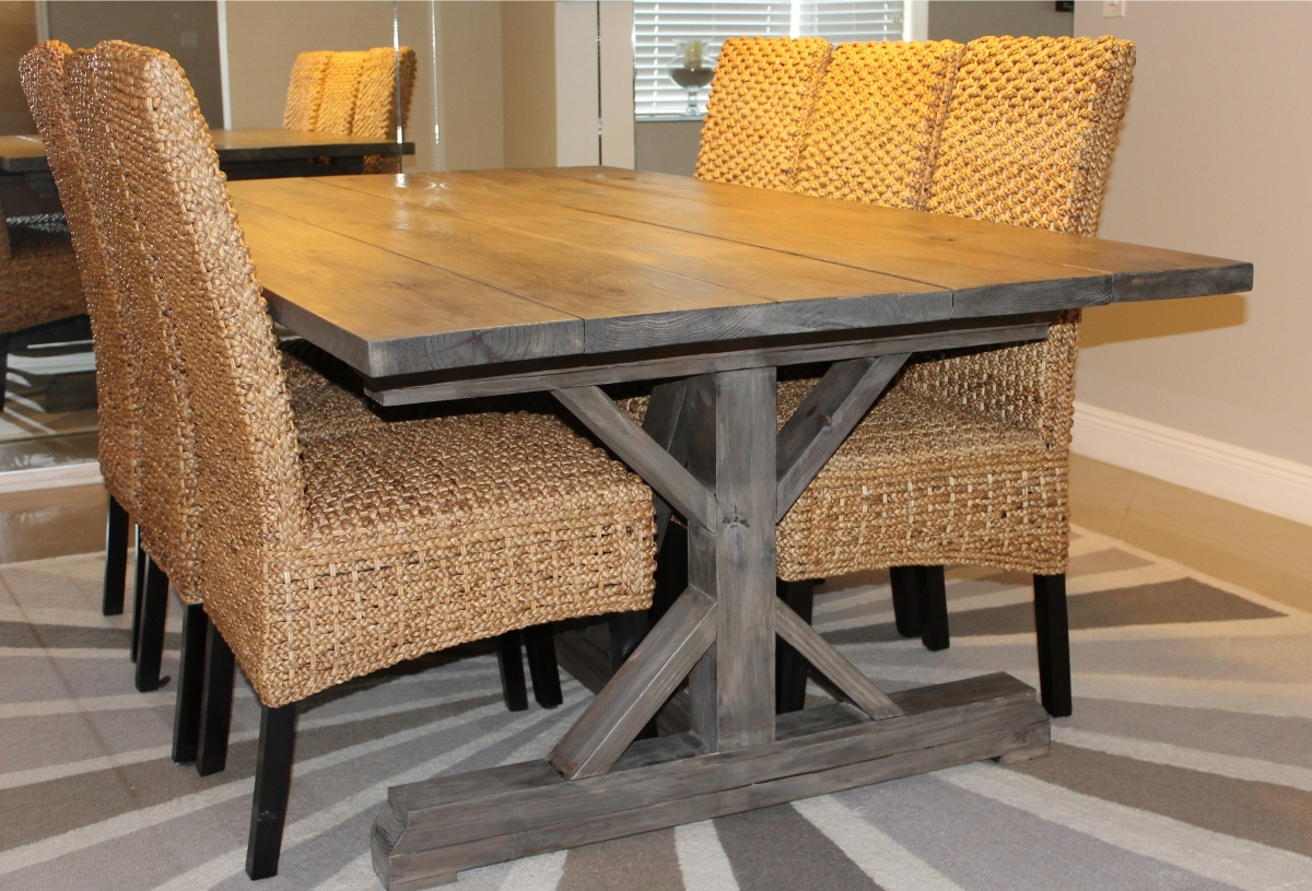 weathered gray fancy x farmhouse table extensions