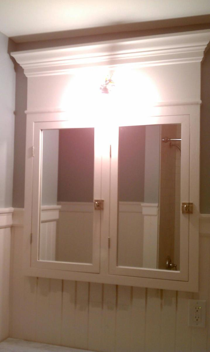 Ana white custom built in medicine cabinet diy projects for Custom built cabinets