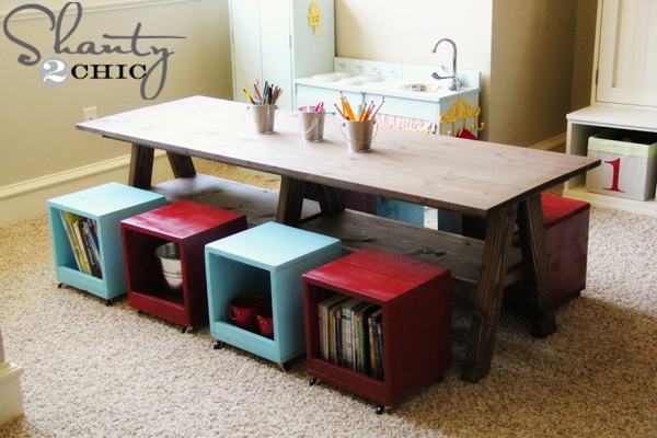 Superieur Free Plans To Build A Double Trestle Table! Inspired By Pottery Barn Kids  Hudson Play Table, But Doubled In Size For Twice The Fun And Learning!