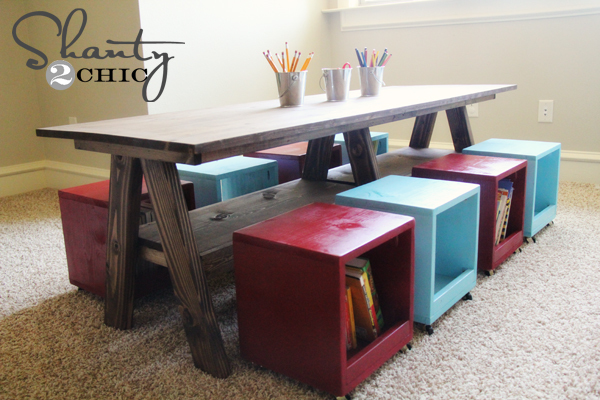 Ana white double trestle play table diy projects for Table for kids room