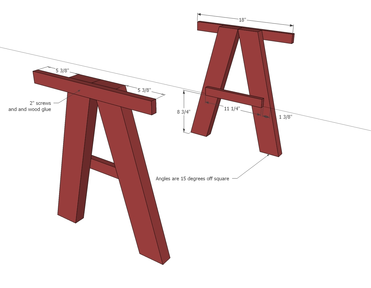 Ana white double trestle play table diy projects for Table leg designs