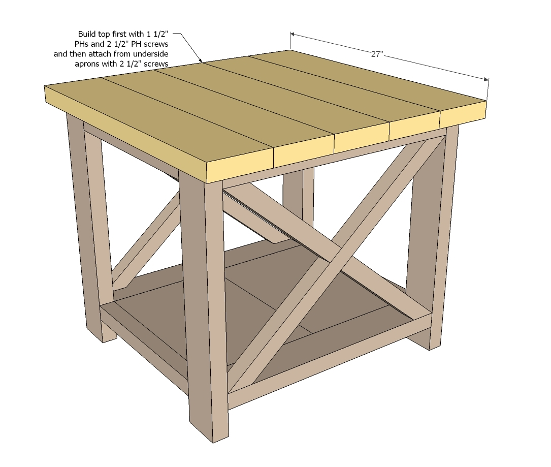 ana white  rustic x end table  diy projects -