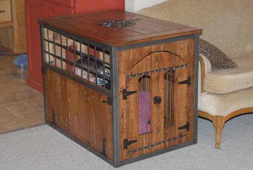 Built From Plan S Large Wood Pet Kennel End Table