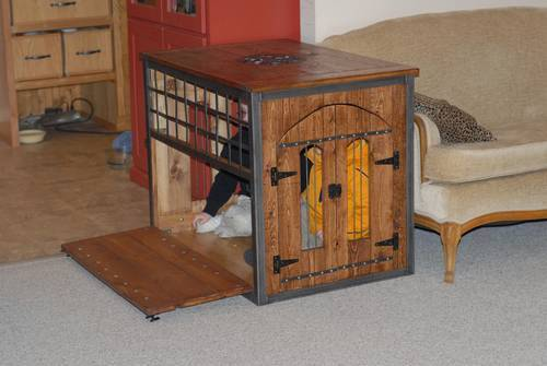 welded and wood dog crate kennel - Wooden Dog Crate End Tables