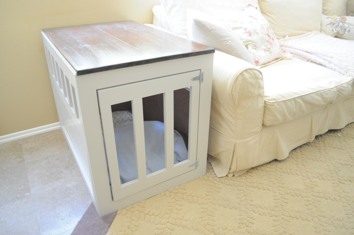 build your own dog crate end table | Quick Woodworking ...