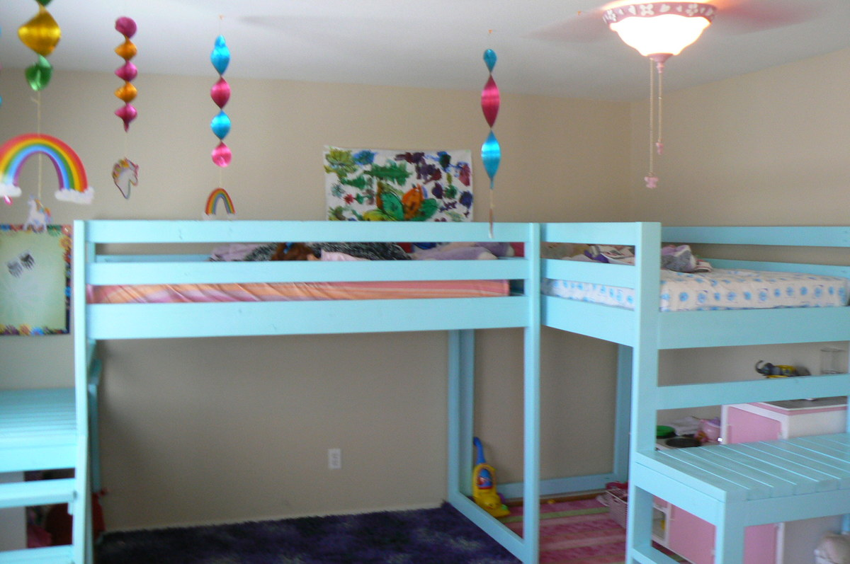 l shaped loft bed  top wooden l shaped bunk beds (with space  - ana white two camp loft beds diy projects