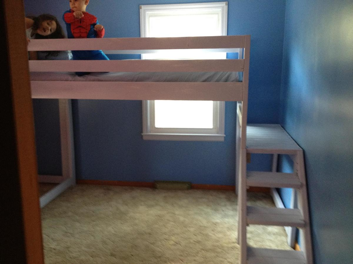 Ana white twin loft beds with platform diy projects - Adult loft beds with stairs ...