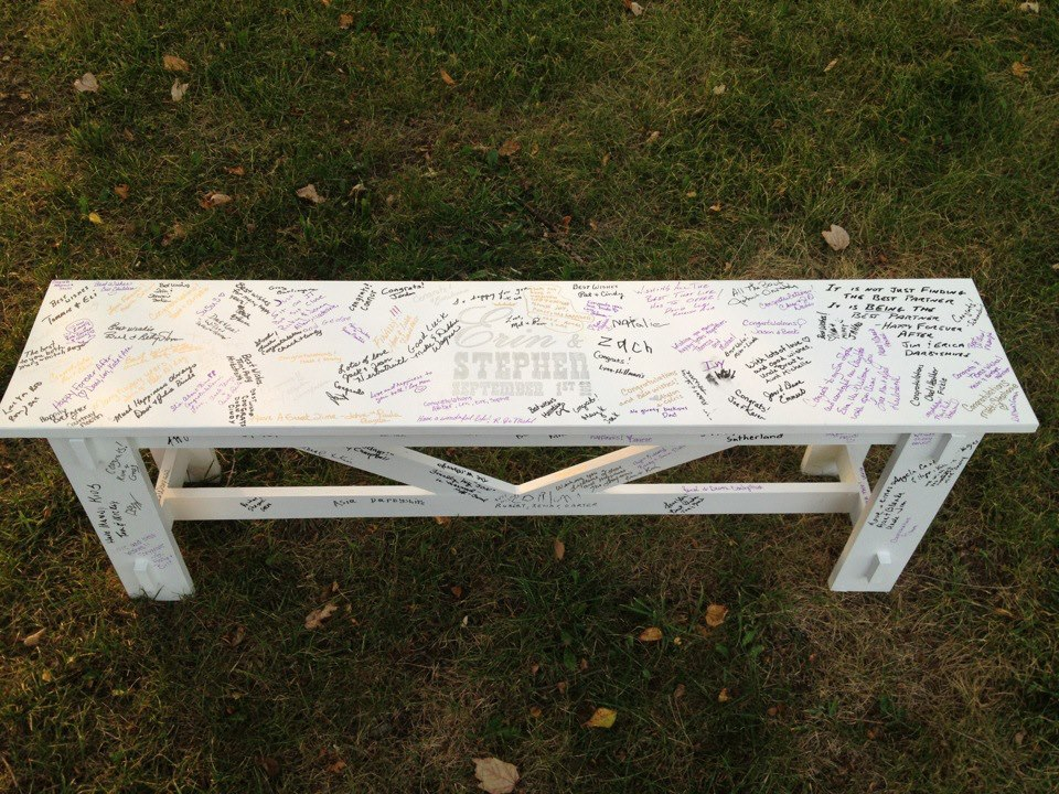 Wedding Bench Guestbook | Do It Yourself Home Projects from Ana White: www.ana-white.com/2012/09/wedding-bench-guestbook