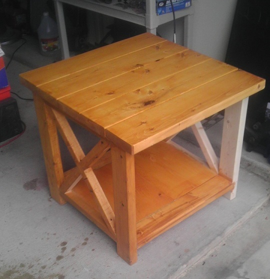 Ana white not so rustic x end table diy projects for Diy rustic end tables