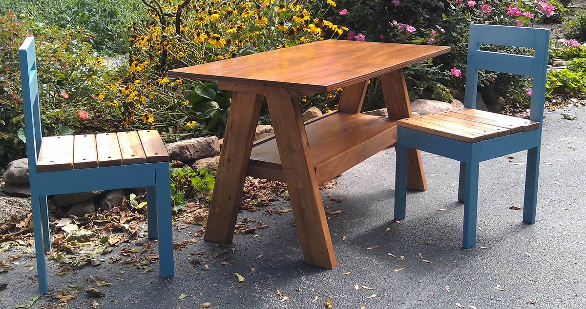 Kids' Trestle Play Table And Four Dollar