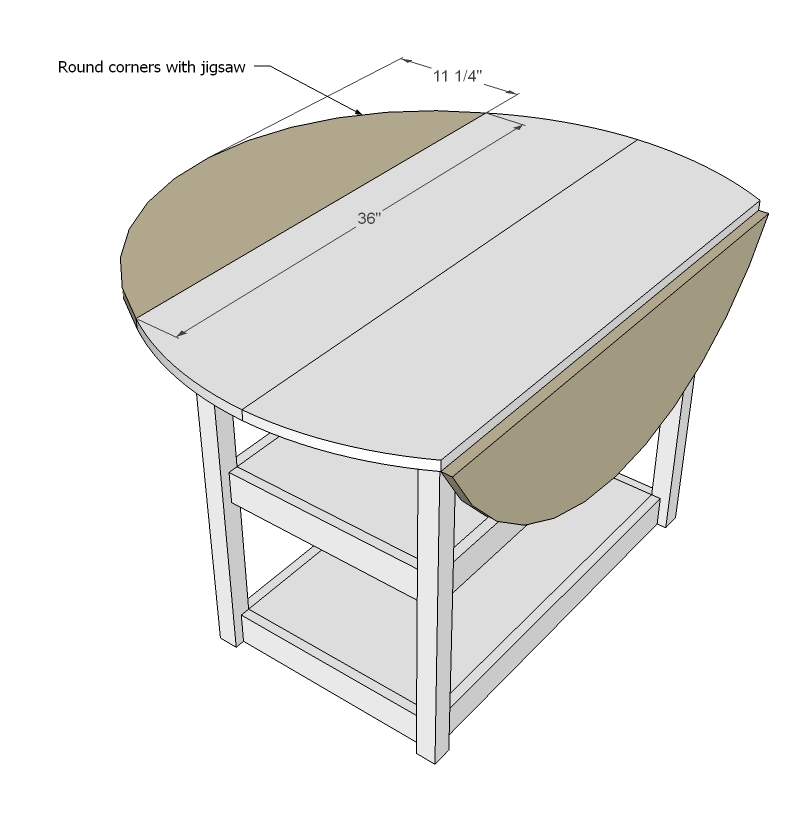 Ana White  Drop Leaf Round Storage Table - DIY Projects