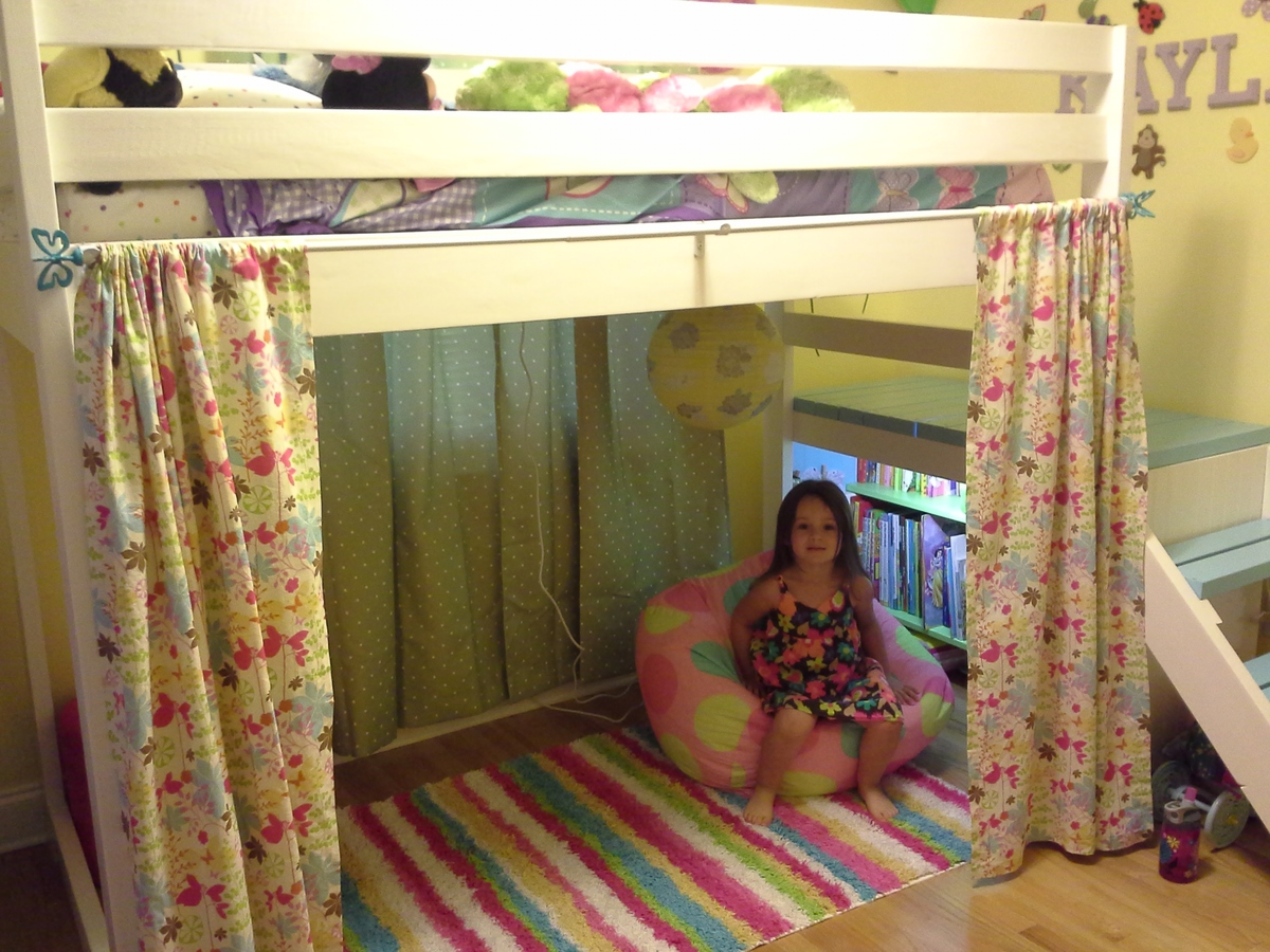 Ana White Camp Loft Bed With Added Book Shelf And Curtain Diy Projects