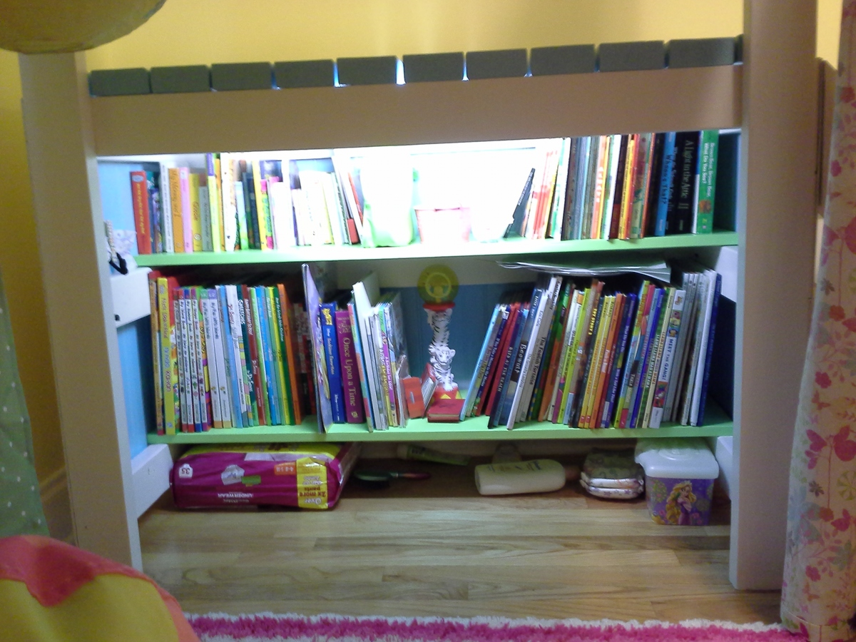 Camp Loft Bed With Added Book Shelf And Curtain