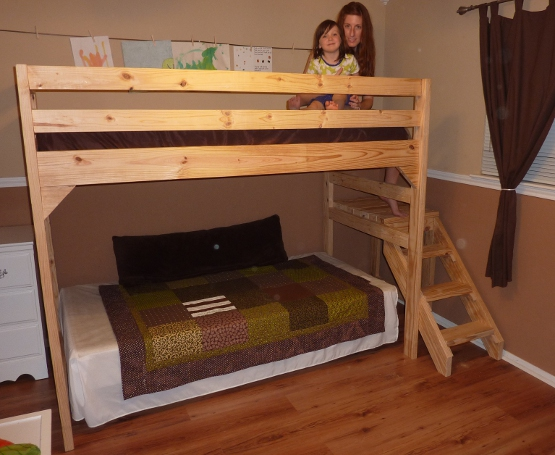 Loft bed with Staircase | Do It Yourself Home Projects from Ana White
