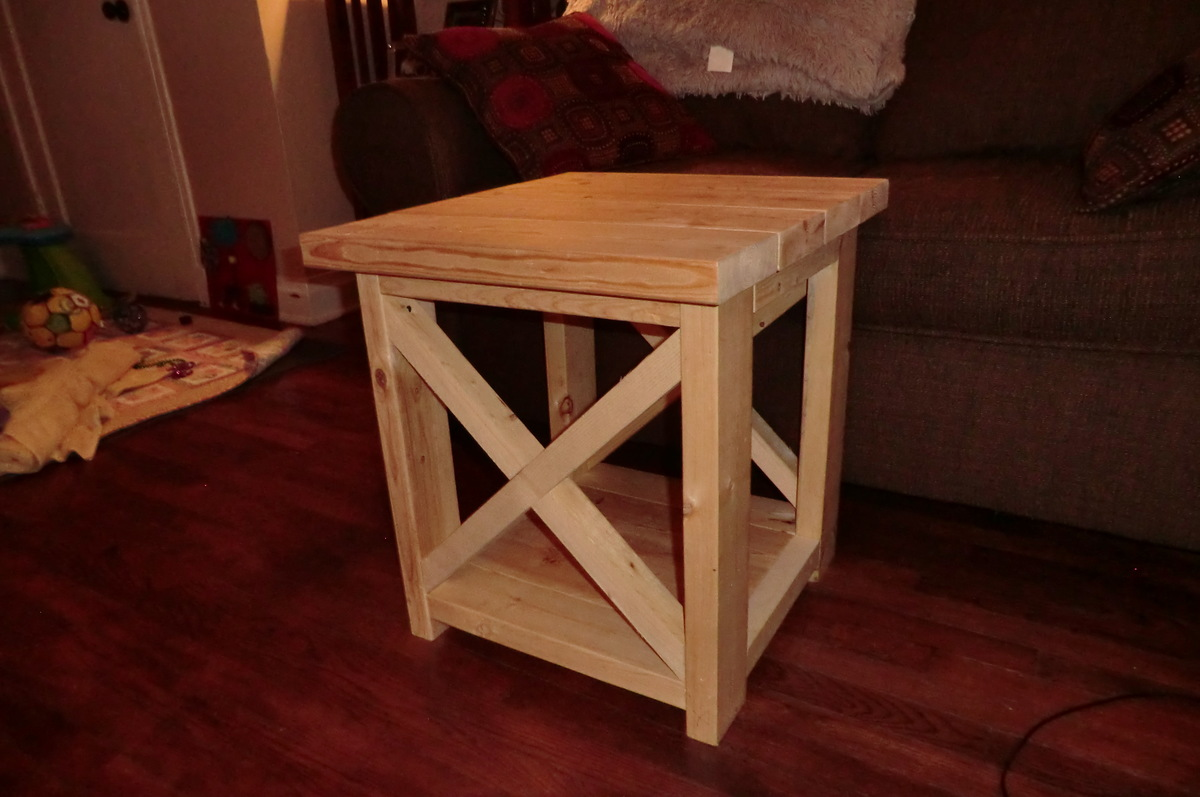 Ana white smaller rustic x end table diy projects for Side table design