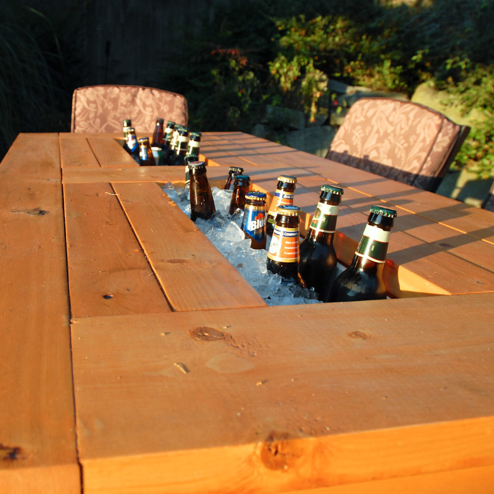 Ana white patio table with built in beer wine coolers for Wooden beer cooler plans