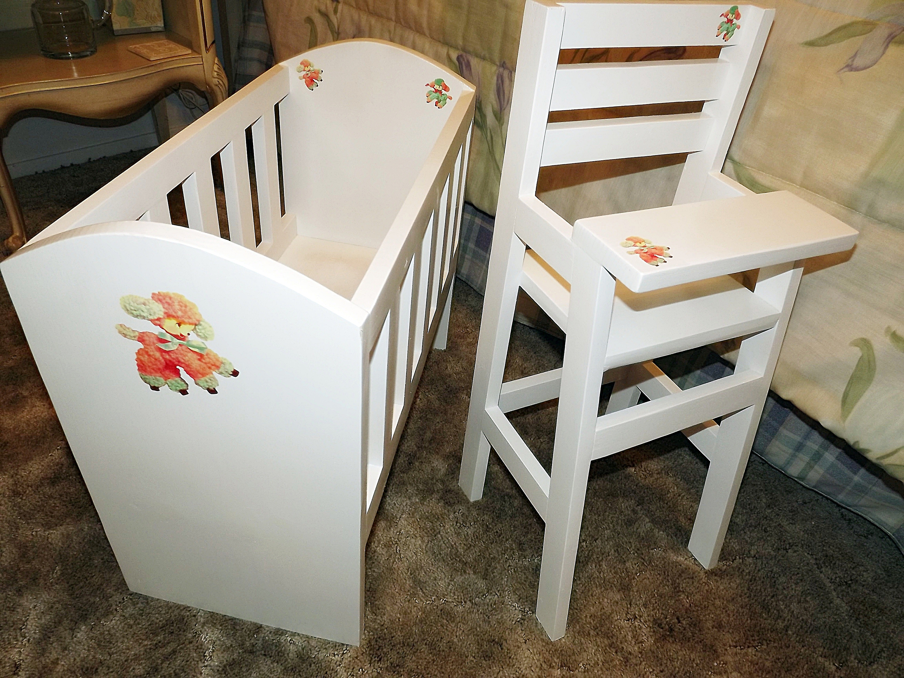 ana white olivia s doll crib and high chair sets diy projects
