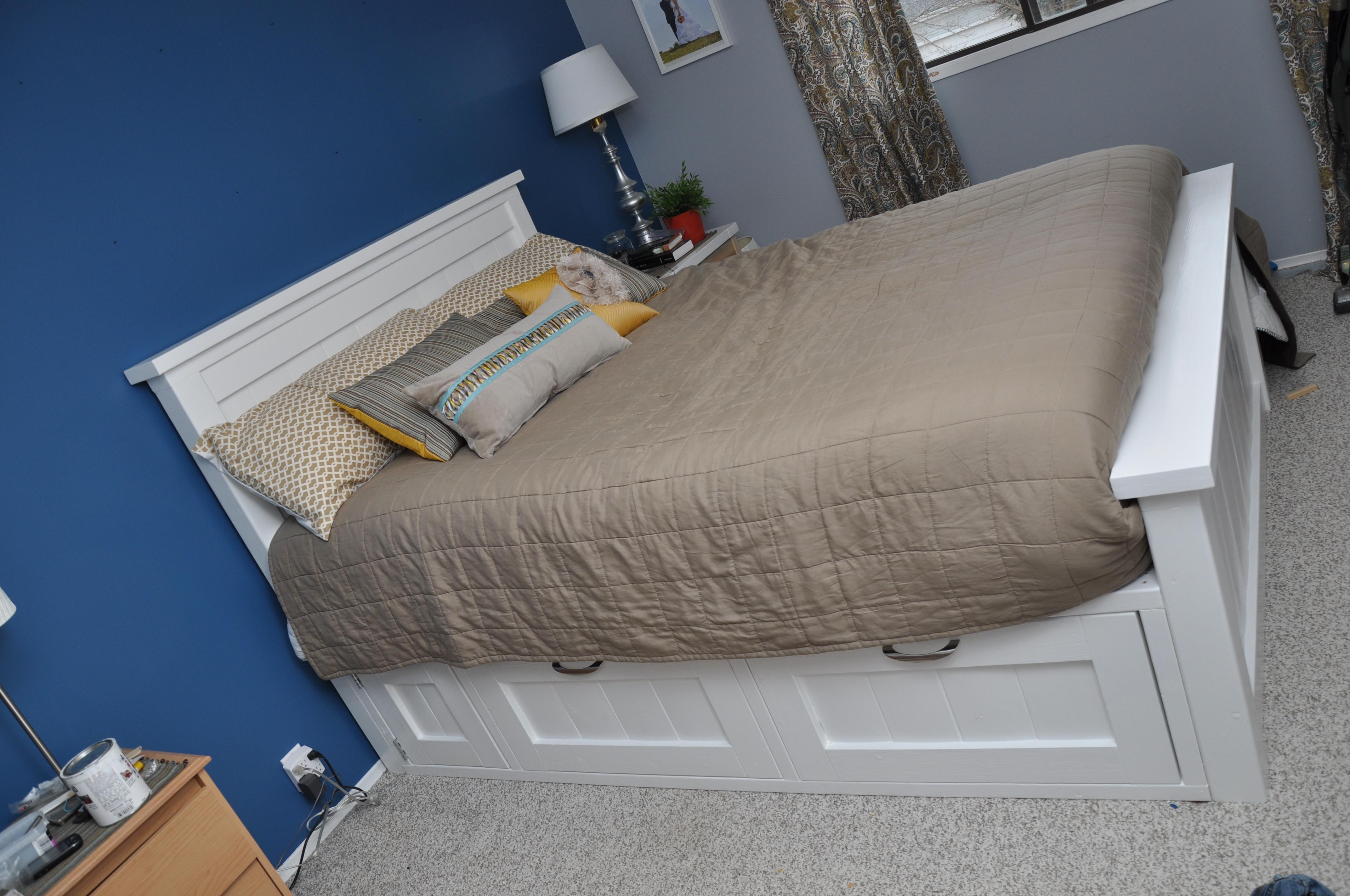 Высокая кровать с ящиками своими руками 20