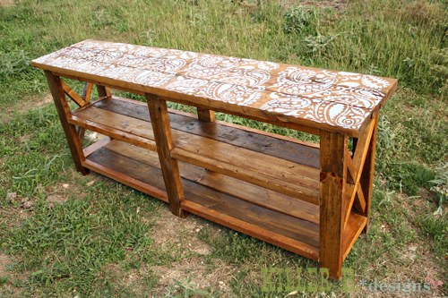how to build rustic furniture. Reclaimed Stenciled Rustic X Console How To Build Furniture