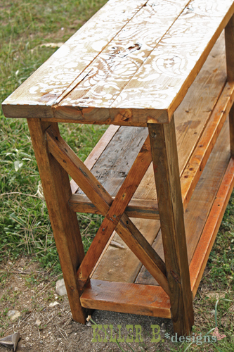 Ana White Reclaimed Stenciled Rustic X Console Diy