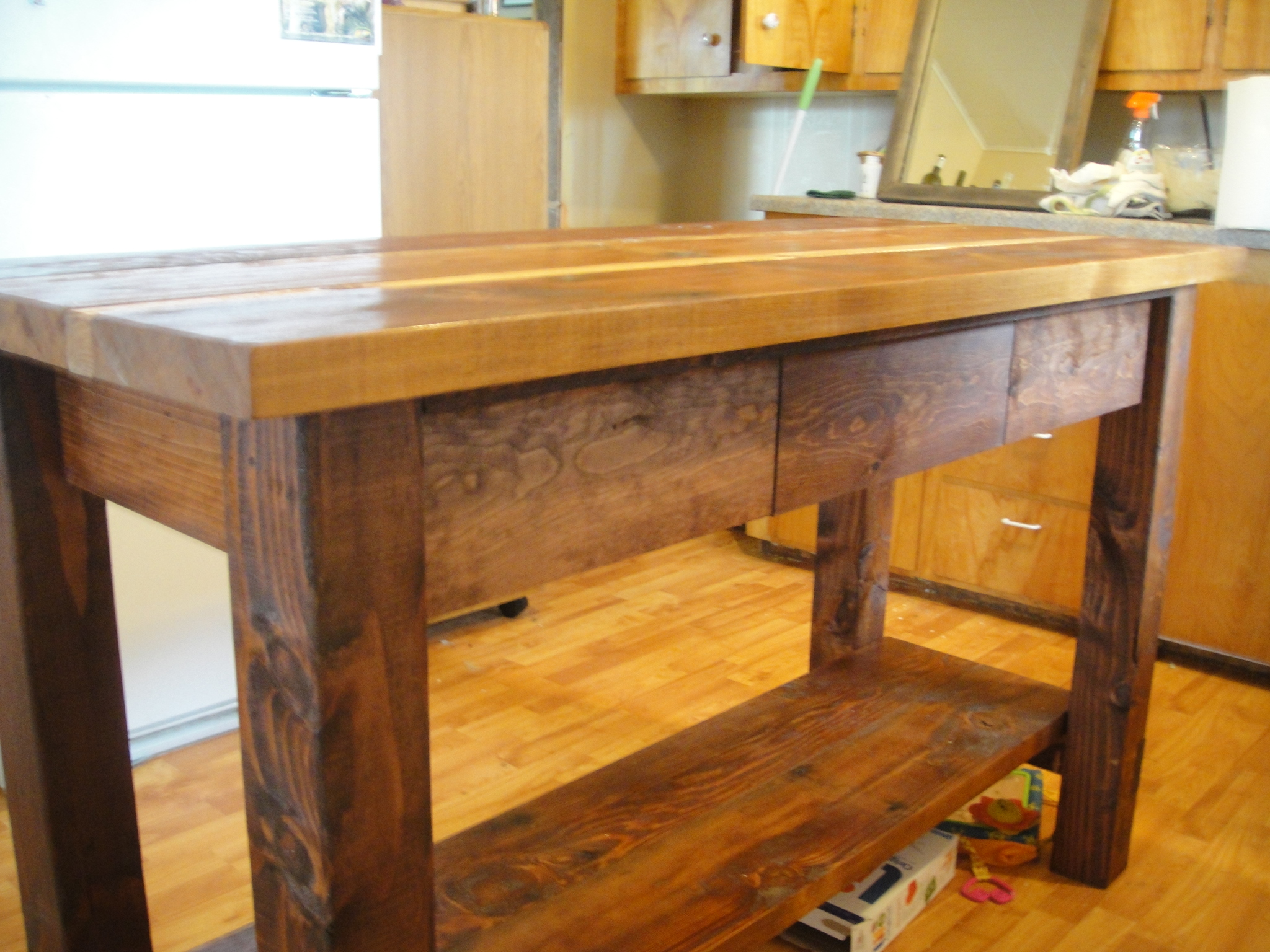 Ana white kitchen island from reclaimed wood diy projects for Making a kitchen island from cabinets