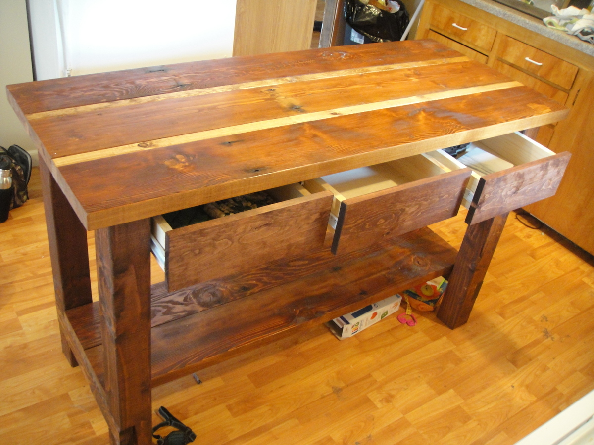 ana white kitchen island from reclaimed wood diy projects