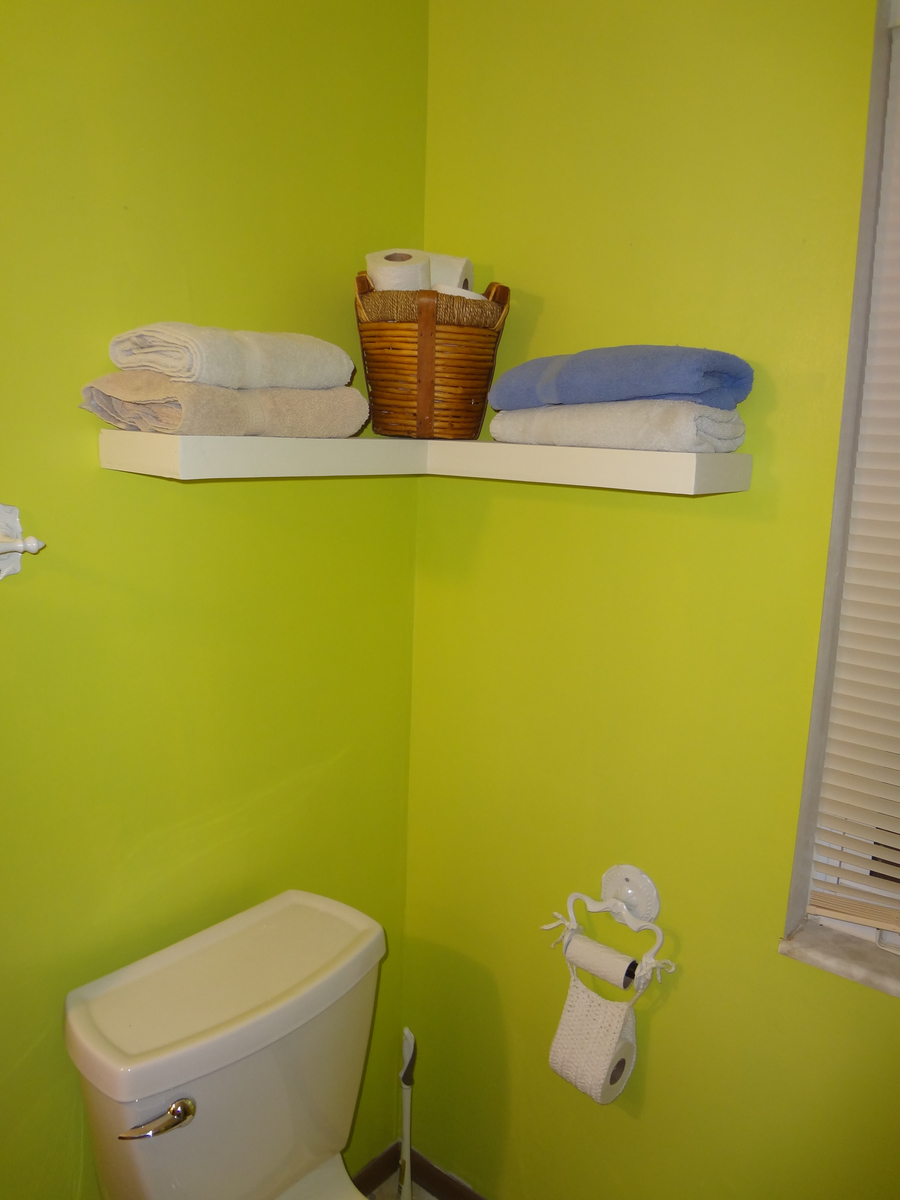 White bathroom corner shelf - Floating Corner Shelf